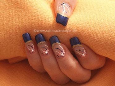 Синий френч дизайн ногти